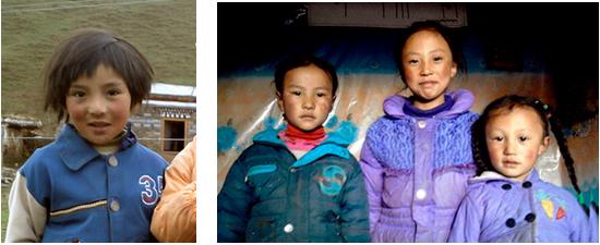 shagraschool Tibetaanse kinderen Lagshed Jorden, Otsp en haar zusjes